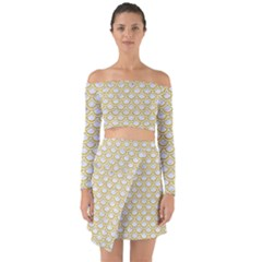 SCALES2 WHITE MARBLE & YELLOW DENIM (R) Off Shoulder Top with Skirt Set