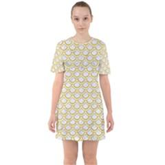 SCALES2 WHITE MARBLE & YELLOW DENIM (R) Sixties Short Sleeve Mini Dress