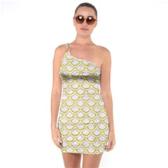 SCALES2 WHITE MARBLE & YELLOW DENIM (R) One Soulder Bodycon Dress