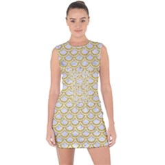 SCALES2 WHITE MARBLE & YELLOW DENIM (R) Lace Up Front Bodycon Dress