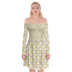 SCALES2 WHITE MARBLE & YELLOW DENIM (R) Off Shoulder Skater Dress