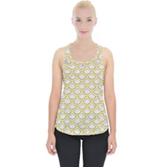 SCALES2 WHITE MARBLE & YELLOW DENIM (R) Piece Up Tank Top