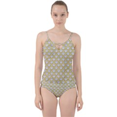 SCALES2 WHITE MARBLE & YELLOW DENIM (R) Cut Out Top Tankini Set