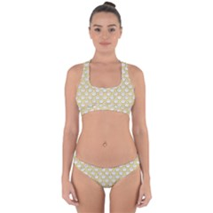 SCALES2 WHITE MARBLE & YELLOW DENIM (R) Cross Back Hipster Bikini Set
