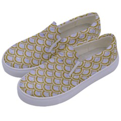 SCALES2 WHITE MARBLE & YELLOW DENIM (R) Kids  Canvas Slip Ons