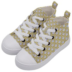 SCALES2 WHITE MARBLE & YELLOW DENIM (R) Kid s Mid-Top Canvas Sneakers