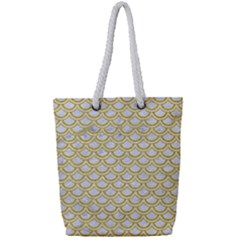SCALES2 WHITE MARBLE & YELLOW DENIM (R) Full Print Rope Handle Tote (Small)