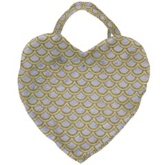SCALES2 WHITE MARBLE & YELLOW DENIM (R) Giant Heart Shaped Tote