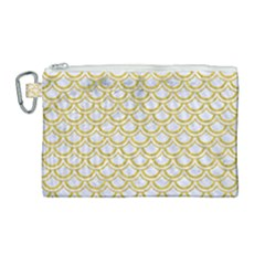 SCALES2 WHITE MARBLE & YELLOW DENIM (R) Canvas Cosmetic Bag (Large)
