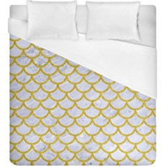 Scales1 White Marble & Yellow Denim (r) Duvet Cover (king Size) by trendistuff