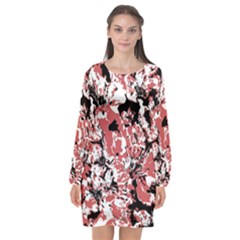 Textured Floral Collage Long Sleeve Chiffon Shift Dress  by dflcprints