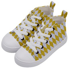 Diamond1 White Marble & Yellow Denim Kid s Mid Top Canvas Sneakers by trendistuff