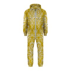 Damask1 White Marble & Yellow Denim Hooded Jumpsuit (kids) by trendistuff