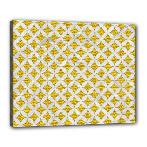 Circles3 White Marble & Yellow Denim Canvas 20  X 16  by trendistuff