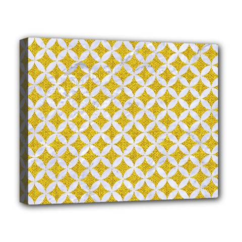 Circles3 White Marble & Yellow Denim Deluxe Canvas 20  X 16   by trendistuff