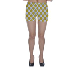 Circles2 White Marble & Yellow Denim (r) Skinny Shorts
