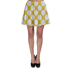 Circles2 White Marble & Yellow Denim Skater Skirt