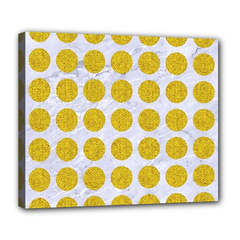 Circles1 White Marble & Yellow Denim (r) Deluxe Canvas 24  X 20   by trendistuff