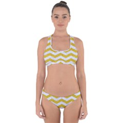 Chevron3 White Marble & Yellow Denim Cross Back Hipster Bikini Set