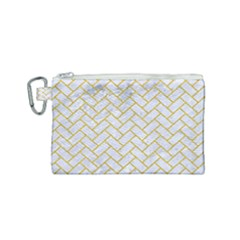 Brick2 White Marble & Yellow Denim (r) Canvas Cosmetic Bag (small) by trendistuff
