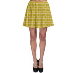 Brick1 White Marble & Yellow Denim Skater Skirt