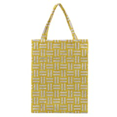 Woven1 White Marble & Yellow Colored Pencil Classic Tote Bag by trendistuff