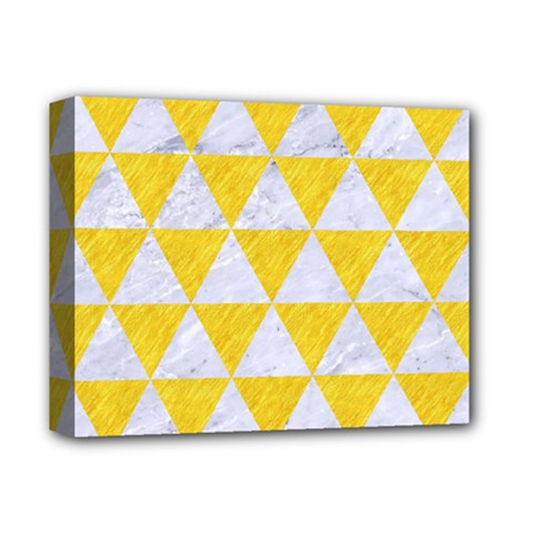 Triangle3 White Marble & Yellow Colored Pencil Deluxe Canvas 14  X 11  by trendistuff