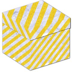 Stripes3 White Marble & Yellow Colored Pencil (r) Storage Stool 12   by trendistuff