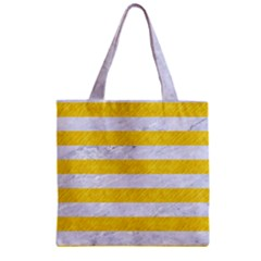 Stripes2white Marble & Yellow Colored Pencil Zipper Grocery Tote Bag by trendistuff
