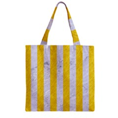 Stripes1 White Marble & Yellow Colored Pencil Zipper Grocery Tote Bag by trendistuff