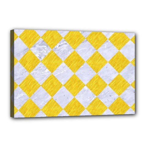 Square2 White Marble & Yellow Colored Pencil Canvas 18  X 12  by trendistuff