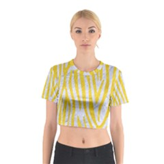 Skin4 White Marble & Yellow Colored Pencil Cotton Crop Top