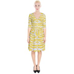 Skin2 White Marble & Yellow Colored Pencil Wrap Up Cocktail Dress