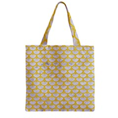 Scales3 White Marble & Yellow Colored Pencil (r) Zipper Grocery Tote Bag by trendistuff