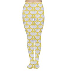 Scales3 White Marble & Yellow Colored Pencil (r) Women s Tights by trendistuff