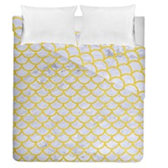 Scales1 White Marble & Yellow Colored Pencil (r) Duvet Cover Double Side (queen Size) by trendistuff