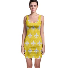 Royal1 White Marble & Yellow Colored Pencil (r) Bodycon Dress