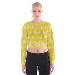 Royal1 White Marble & Yellow Colored Pencil (r) Cropped Sweatshirt