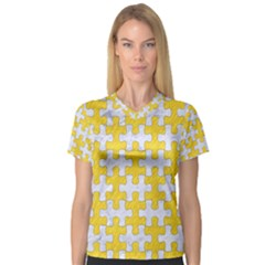 Puzzle1 White Marble & Yellow Colored Pencil V Neck Sport Mesh Tee