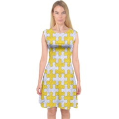 Puzzle1 White Marble & Yellow Colored Pencil Capsleeve Midi Dress