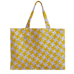 Houndstooth2 White Marble & Yellow Colored Pencil Zipper Mini Tote Bag by trendistuff
