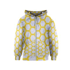 Hexagon2 White Marble & Yellow Colored Pencil (r) Kids  Zipper Hoodie