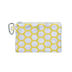 Hexagon2 White Marble & Yellow Colored Pencil (r) Canvas Cosmetic Bag (small)