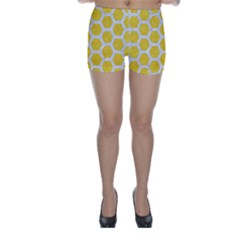 Hexagon2 White Marble & Yellow Colored Pencil Skinny Shorts