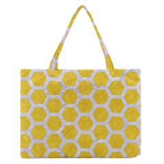 Hexagon2 White Marble & Yellow Colored Pencil Zipper Medium Tote Bag by trendistuff