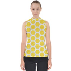 Hexagon2 White Marble & Yellow Colored Pencil Shell Top