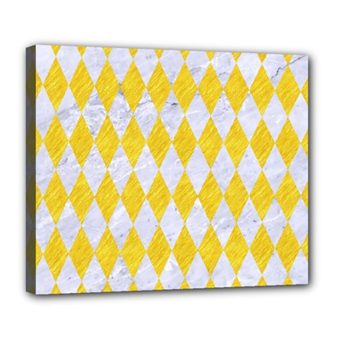 Diamond1 White Marble & Yellow Colored Pencil Deluxe Canvas 24  X 20   by trendistuff