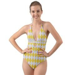 Diamond1 White Marble & Yellow Colored Pencil Halter Cut Out One Piece Swimsuit by trendistuff