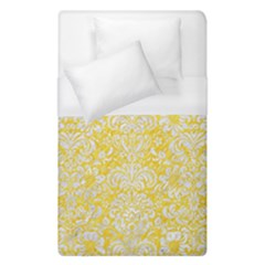 Damask2 White Marble & Yellow Colored Pencil Duvet Cover (single Size)