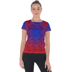 Red Music Blue Moon Short Sleeve Sports Top  by snowwhitegirl